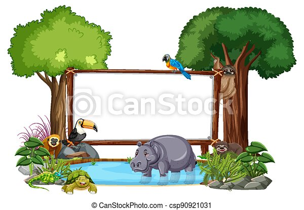 Empty banner with wild animals and rainforest trees on white background - csp90921031