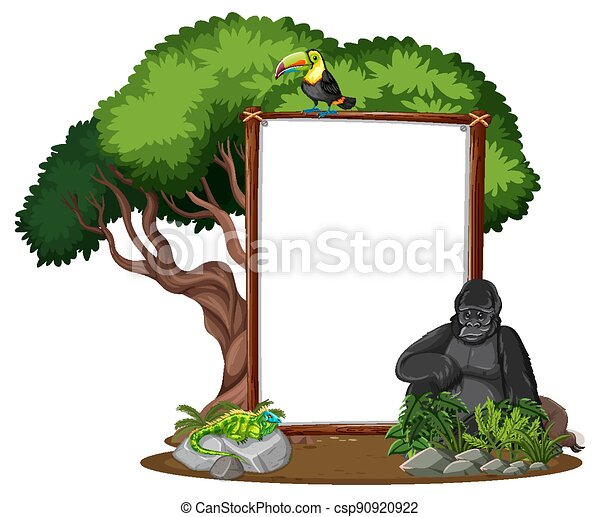 Empty banner with wild animals and rainforest trees on white background - csp90920922