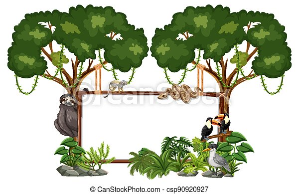 Empty banner with wild animals and rainforest trees on white background - csp90920927