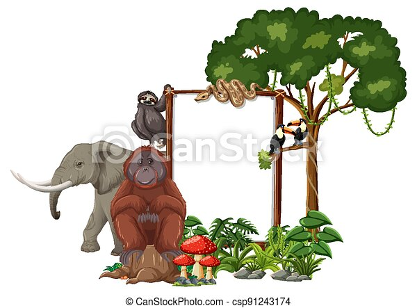 Empty banner with wild animals and rainforest trees on white background - csp91243174