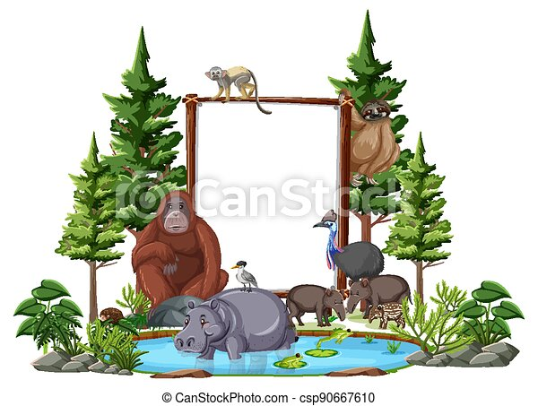 Empty banner with wild animals and rainforest trees on white background - csp90667610