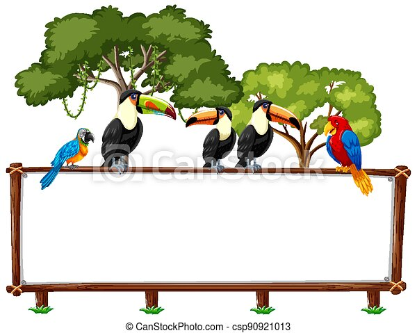 Empty banner with wild animals and rainforest trees on white background - csp90921013