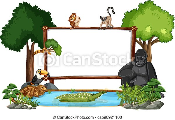 Empty banner with wild animals and rainforest trees on white background - csp90921100