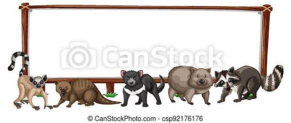 Empty banner with wild animals on white background - csp92176176