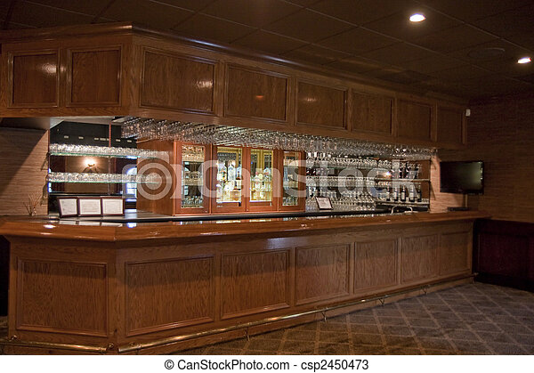 empty bar an old wood paneled bar empty of people