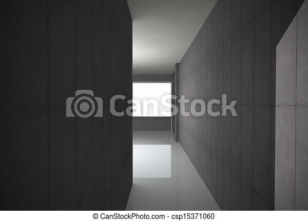 Empty Bare Concrete Corridor - csp15371060