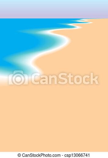 Empty Beach The Sea And Sandy As Summer Eps Vector