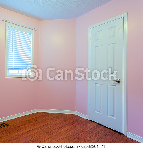 Empty Bedroom In Pink Color Empty Bedroom After Renovation In A New