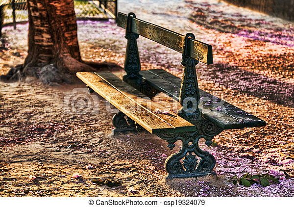 Empty Bench in Spring - csp19324079