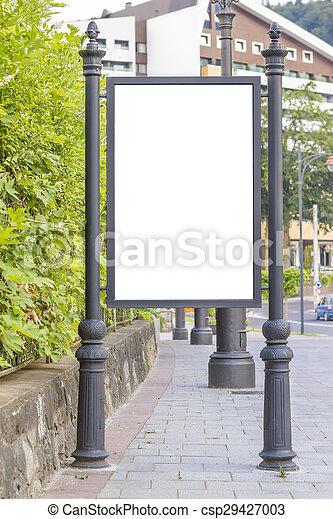 Empty billboard in city center - csp29427003