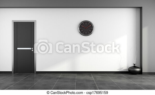 Empty black and white room - csp17695159