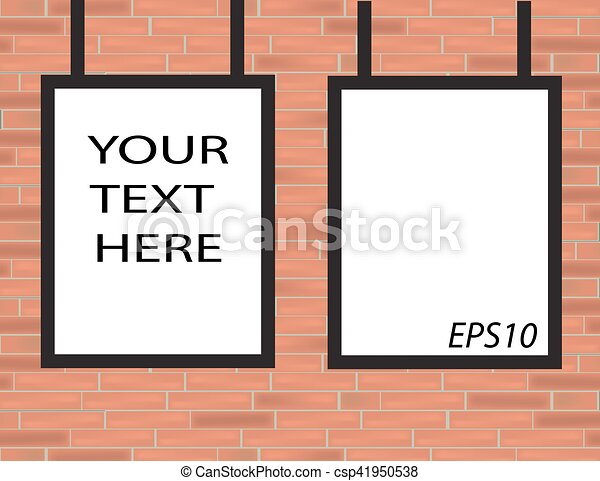 Empty Black Frames On Red Brick Wall With Spotlights Vector