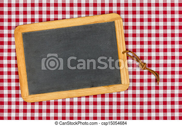 empty blackboard with chalk on a red checkered table cloth pictures