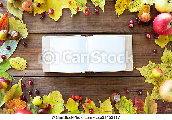 empty book with autumn leaves, fruits and berries - csp31453117