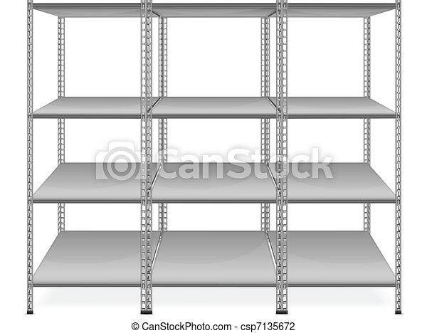Empty bookshelves  - csp7135672