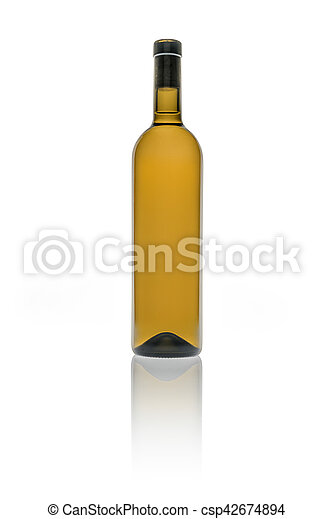 Empty bottle of wine in brown color on white background - csp42674894