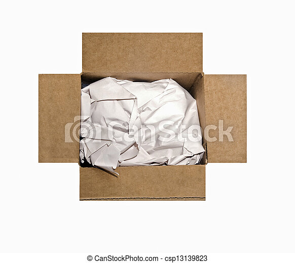 Empty Box With Packing Paper - csp13139823