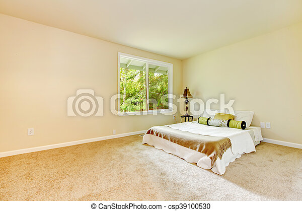 Empty Bright Bedroom With Small Bed And Lamp Empty Bright Bedroom