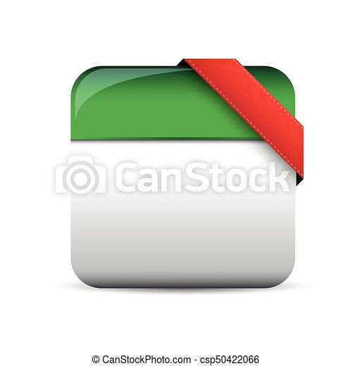 Empty button with red corner ribbon - csp50422066