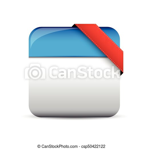 Empty button with red corner ribbon - csp50422122