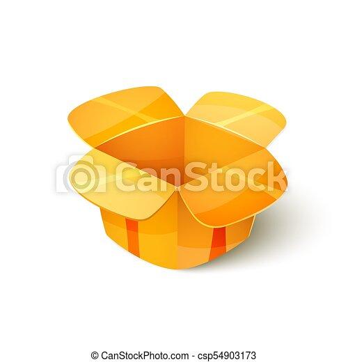 Empty cardboard packaging, open box icon in cartoon style ...