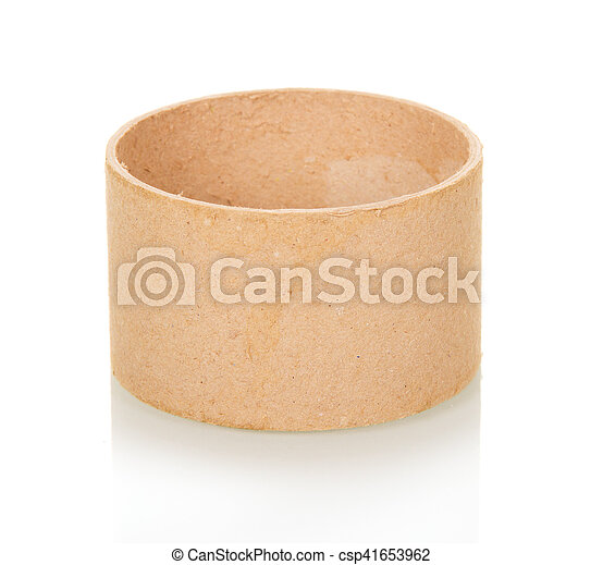 Empty cardboard tube isolated on white. - csp41653962