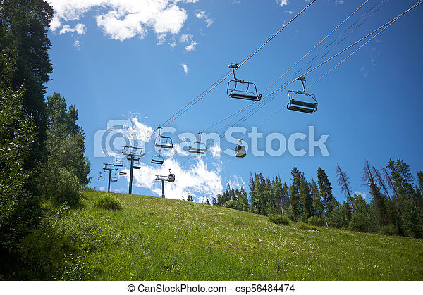 empty chair lift triple empty chair lift in vail colorado summer csp56484474 vail colorado viewed from the bottom
