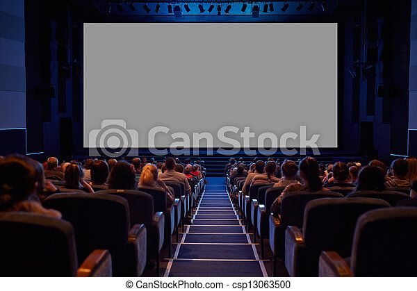 Empty cinema screen with audience. - csp13063500