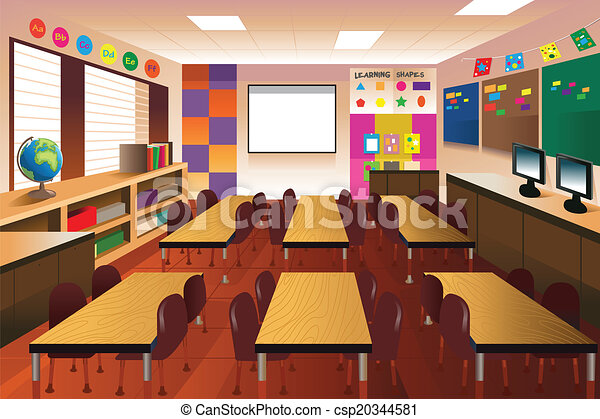 A vector illustration of empty classroom for elementary ...