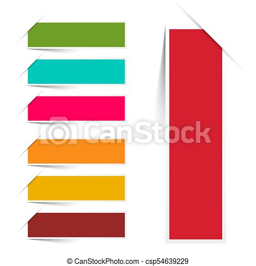 Empty Colorful Paper Labels Set Iolated on White Background - Vector - csp54639229