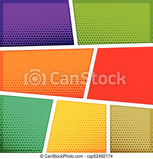 Empty Comic Book Template Background Design Vectors Illustration