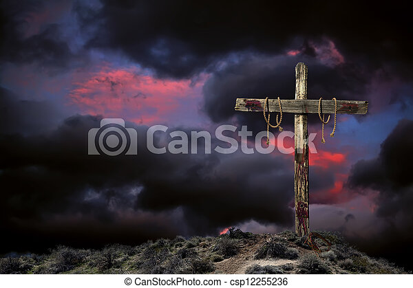 Empty Cross Against an Angry Sky - csp12255236