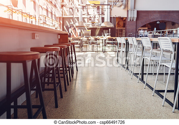 Empty culinary academy. Modern furniture and equipment. Rows of chairs - csp66491726
