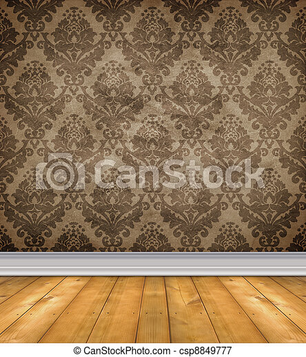 Empty Damask Room With Bare Floors - csp8849777