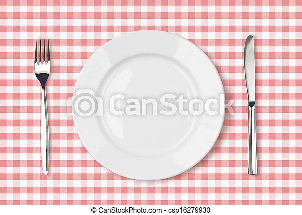empty dinner plate top view on pink picnic table cloth - csp16279930