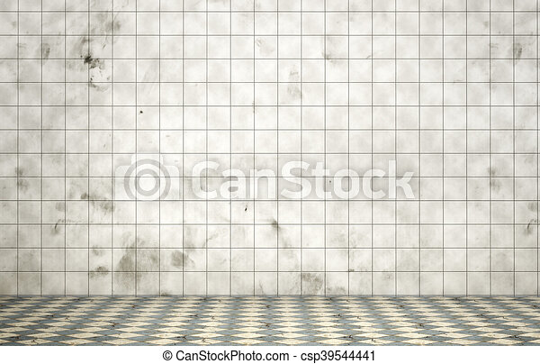 Empty dirty room in grunge style. Tiled room. 3d illustration - csp39544441