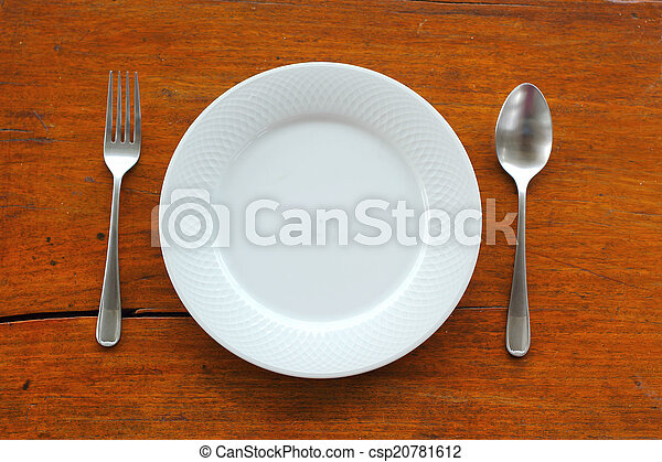 Empty dish and spoon fork - csp20781612