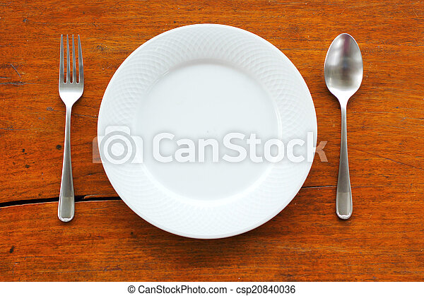 Empty dish and spoon fork - csp20840036