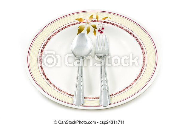 Empty dish spoon and fork - csp24311711