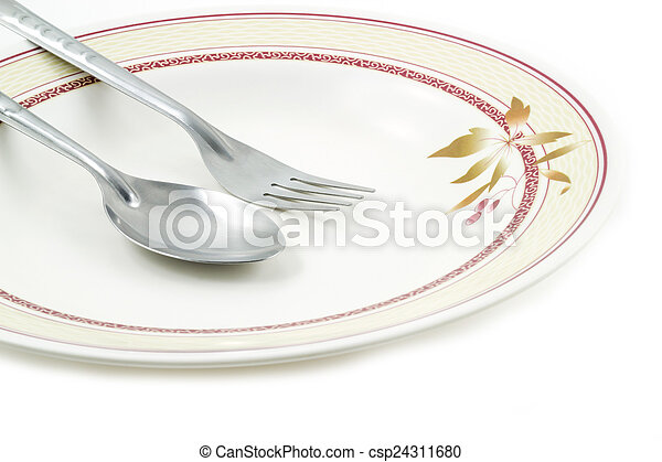 Empty dish spoon and fork - csp24311680