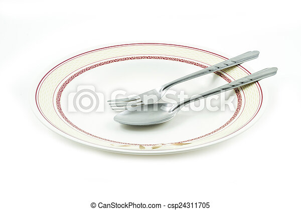 Empty dish spoon and fork - csp24311705