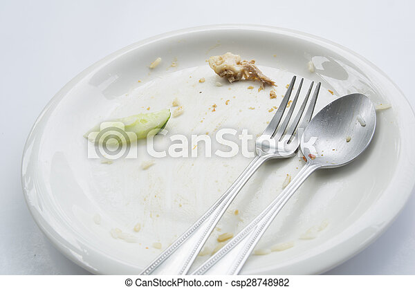 empty dish table done spoon fork concept - csp28748982
