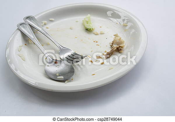 empty dish table done spoon fork concept - csp28749044