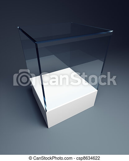 Empty display case isolated 3d render for Render case
