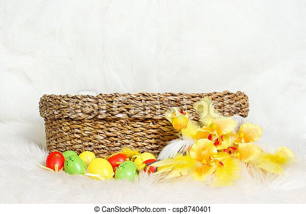 Empty Easter Basket With Multicolor Eggs And Flower Copy Space Stock Photo