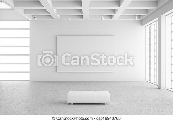 Empty exhibition hall with empty frame - csp16948765