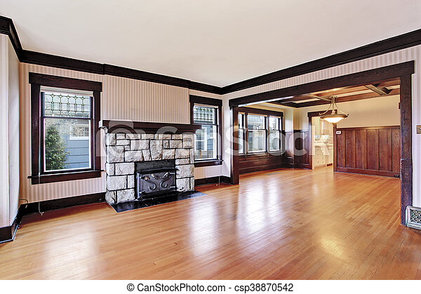 empty family room with antique stone fireplace and hardwood floor rh canstockphoto com Empty Room Background Small Empty Family Room