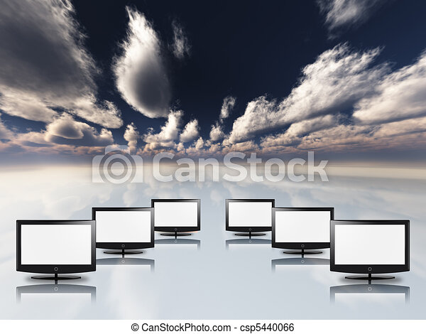 Empty flat panels in white with sky - csp5440066