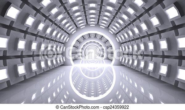 Empty futuristic interior, abstract - csp24359922