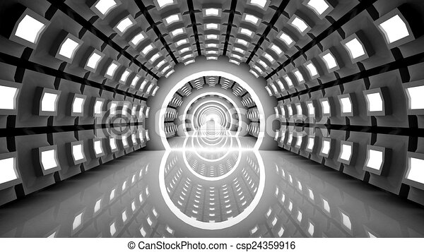 Empty futuristic interior, abstract - csp24359916